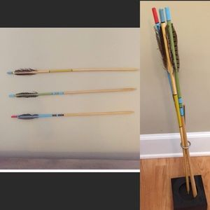Accents - Set of 3 vintage eclectic wood feather arrows
